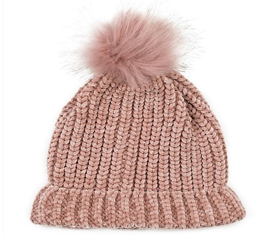 Glitzhome Sugar Soft Chenille Hat Beanie with Faux-Fur Pom Pom