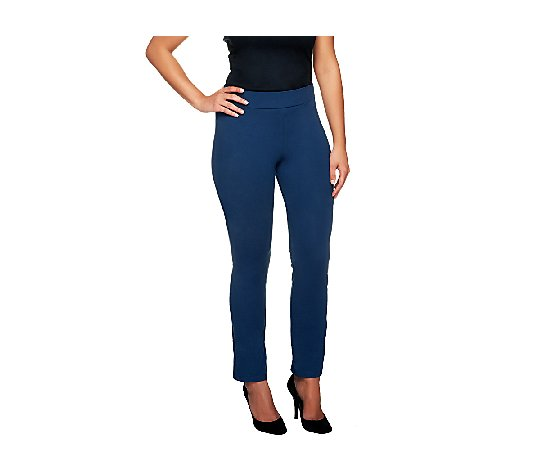 Women with Control Ruched Side Waist Slim Leg Pants