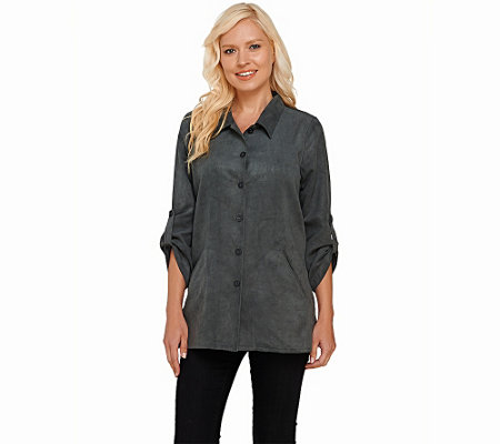 Joan Rivers Boyfriend Shirt in Faux Suede