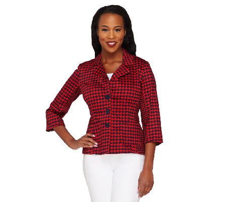 Joan Rivers Houndstooth Jacket with 3/4 Sleeve