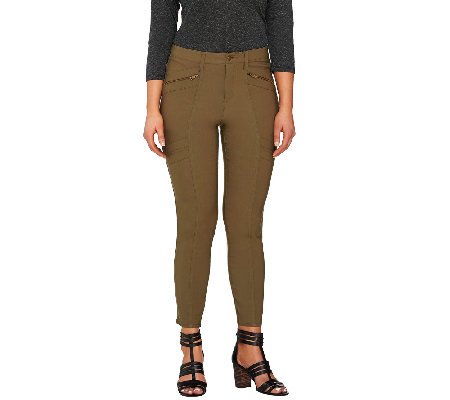 Lisa Rinna Collection Fly Front Pants with Zip & Seam Detail