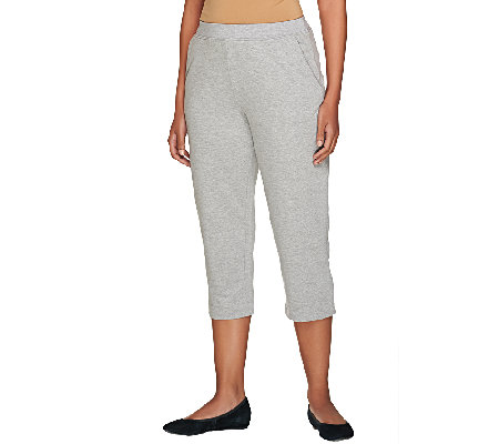 Susan Graver Weekend French Terry Comfort Waist Capri Pants