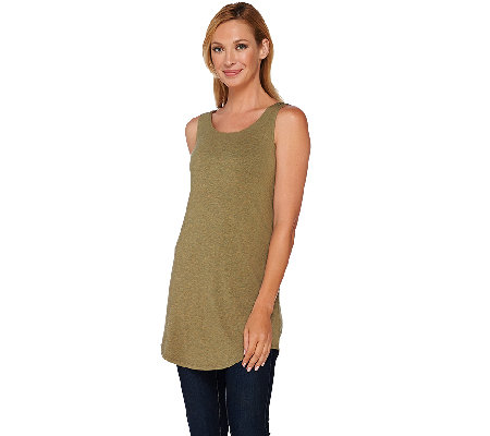 LOGO Layers by Lori Goldstein Scoop Neck Knit Tank with Shirttail Hem