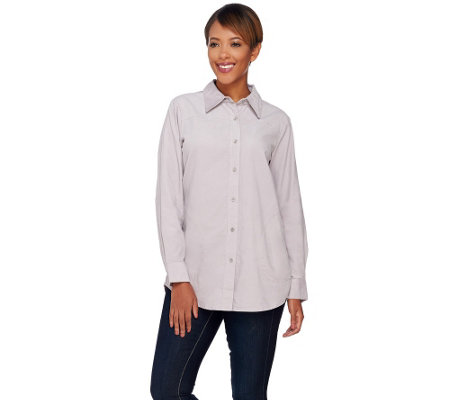Joan Rivers Lightweight Corduroy Boyfriend Shirt
