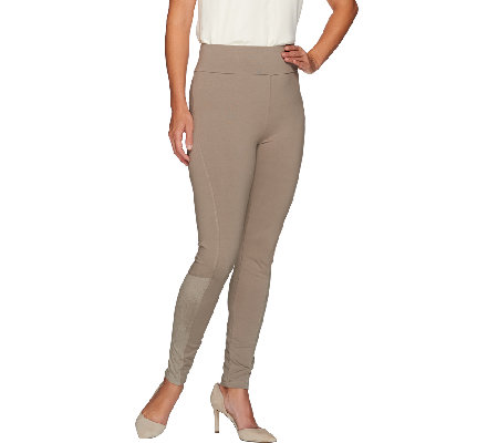 """As Is"" LOGO by Lori Goldstein Regular Knit Ankle Pants w/ Suede Detail"