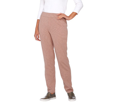 """As Is"" LOGO by Lori Goldstein Pull-On Cotton Slub Knit Pants"
