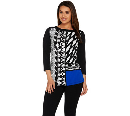 Susan Graver Printed Liquid Knit 3/4 Sleeve Top with Solid Sleeves