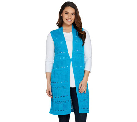 Joan Rivers Crochet Open Front Long Vest