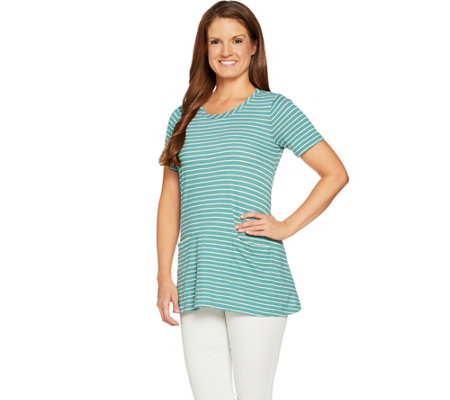LOGO by Lori Goldstein Cotton Slub Stripe Swing Top