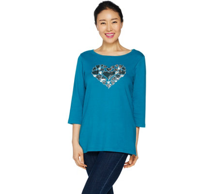 Quacker Factory Heart Sequin T-shirt with Bateau Neck