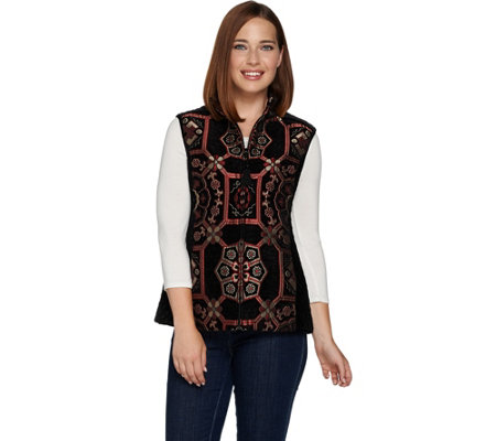 As Is Susan Graver Tapestry Zip Front Vest