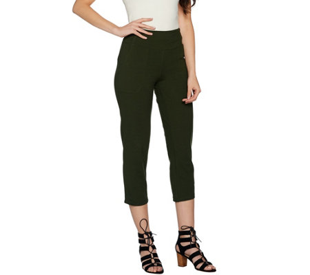 Women With Control Petite Tummy Control Crop Pants With Pockets