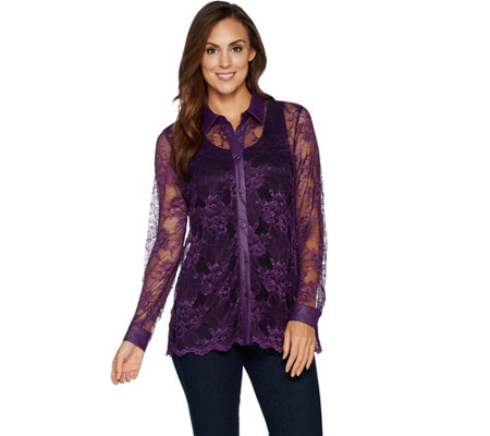 Belle by Kim Gravel Lace Button Front Top with Faux Leather