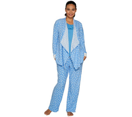 Carole Hochman Tall Stretch Waffle Fleece 3-Piece Pajama Set