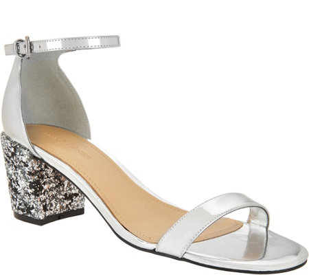Marc Fisher Glitter and Patent Block Heel Sandals - Safia