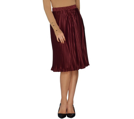 Dennis Basso Pull-On Pleated Skirt