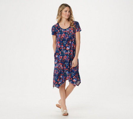 Cuddl Duds Flexwear Petite Handkerchief Hem Dress