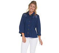 Joan Rivers 3/4 Sleeve Embroidered Denim Jacket - A304770