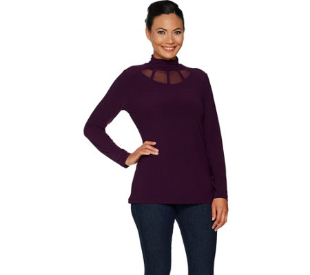 """As Is"" Susan Graver Textured Liquid Knit Mock Neck Top w/Mesh Inserts"