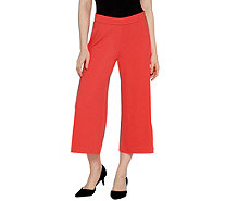 Isaac Mizrahi Live! Regular Pebble Knit Culotte Pants - A306570