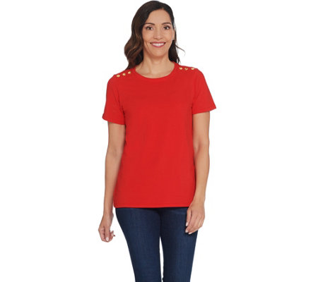 Linea by Louis Dell'Olio Short-Sleeve Tee with Shoulder Detail