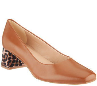 Isaac Mizrahi Live Leather Pump With Leopard Block Heel A309770