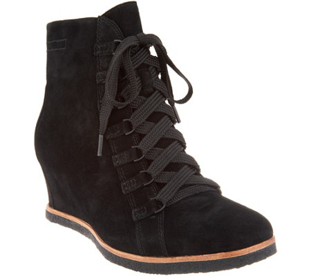 Earth Suede Lace-Up Wedge Ankle Boots - Kalmar
