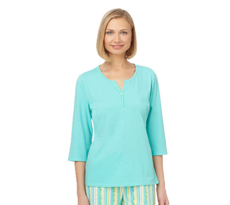 Jockey Separates Jersey 3/4-Sleeve Y-Neck Top