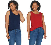 Susan Graver Modern Essentials Set of 2 Liquid Knit Tanks - A343070
