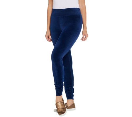 Susan Lucci Collection Petite Velour Leggings with Ankle Ruching