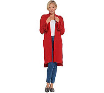 Isaac Mizrahi Live! 2-Ply Cashmere Ruffle Cuff Duster Cardigan - A343870