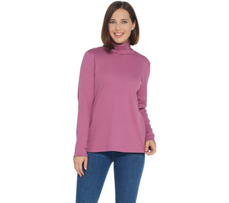 Denim Co Rib Long Sleeve T Neck Top With Pearl Edge Trim