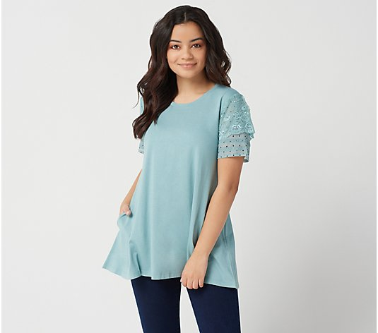 LOGO by Lori Goldstein Cotton Modal Top with Swiss Dot Sleeves