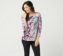 Bob Mackie's Water Color Orchid Print Pullover Knit Top - A350370