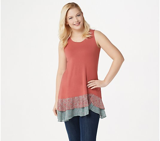 LOGO by Lori Goldstein Rayon 230 Tank with Woven Print Flounce