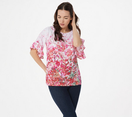 Belle by Kim Gravel Wildflower Ruffle Elbow- Sleeve Blouse