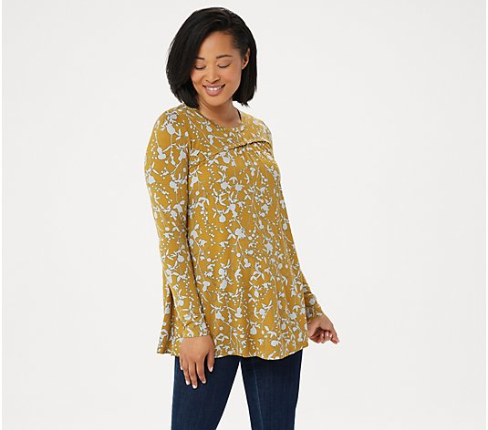 LOGO by Lori Goldstein Printed Rayon 230 Top with Asymmetric Seam