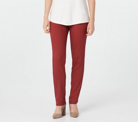 Isaac Mizrahi Live! Regular Woven Medallion Jacquard Slim Leg Pants