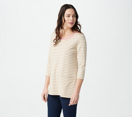 Isaac Mizrahi Live! 3/4- Sleeve Striped Tunic with Contrast Trim