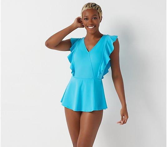Denim & Co. Beach Wrap Front Swim Dress with Ruffle Detail
