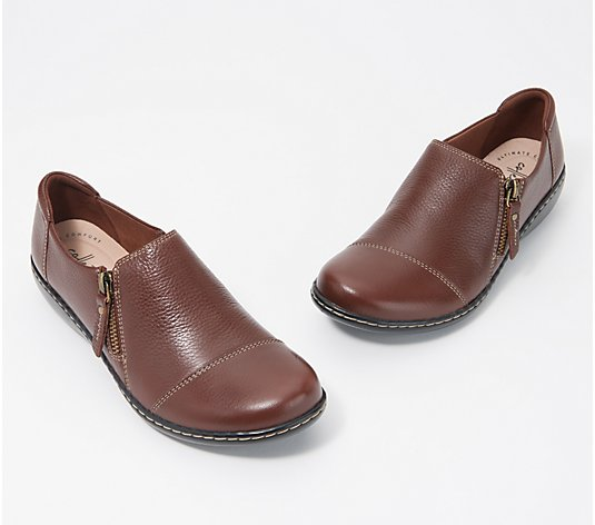 """As Is"" Clarks Collection Leather Slip-On Shoes-Ashland Palm"