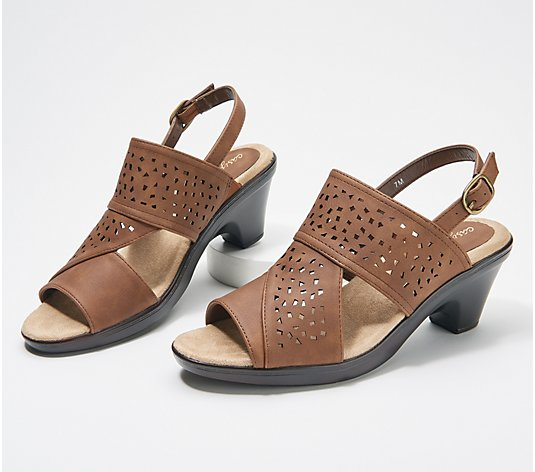 Easy Street Perforated Block Heeled Sandals - Charleigh