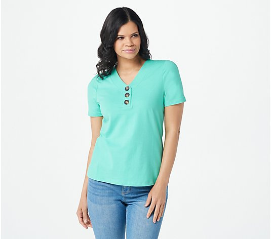 Denim & Co. Essentials Jersey V-Neck Henley Short Sleeve Top