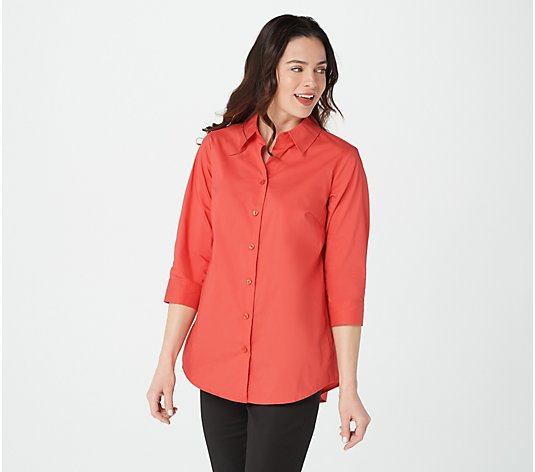 """As Is"" Joan Rivers 3/4- Sleeve Button Front Shirt w/ Back Ruffles"