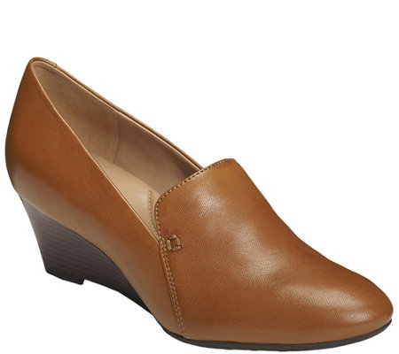 Aerosoles Heel Rest Leather Wedges - Full Circle
