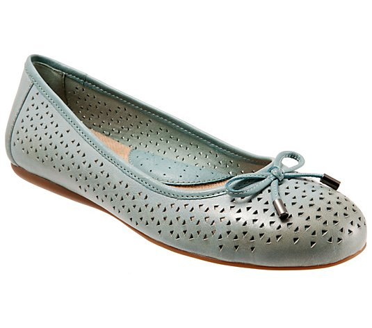 Softwalk Leather Slip-On Flats -  Napa Laser