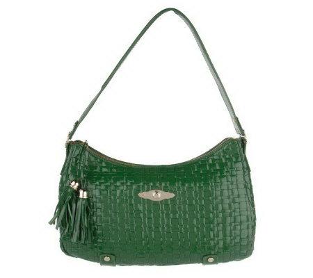 Elliott Lucca Woven Patent Leather Hobo Bag