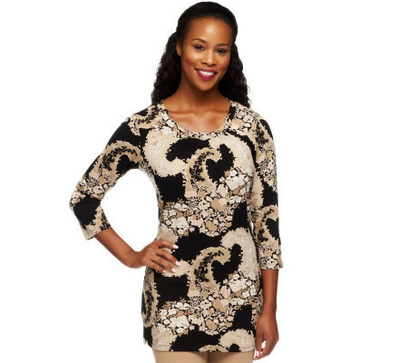 Liz Claiborne New York Exploded Paisley Print Knit Tunic