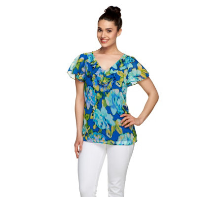 Isaac Mizrahi Live! Watteau Rose Top with Ruffle Detail