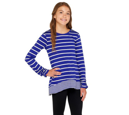 LOGO Littles by Lori Goldstein Striped Knit Top with Hi-Low Hem